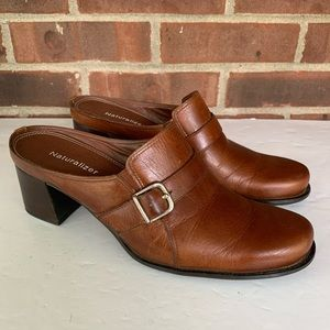 Naturalizer brown leather heeled mules shoes